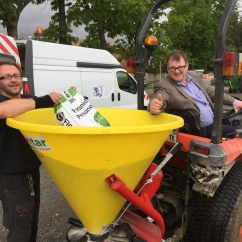Fertilsier spreading demonstration at Northern Ireland Team Base Camp